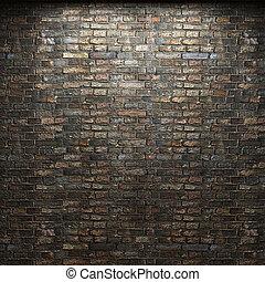 upplyst, vägg, tegelsten