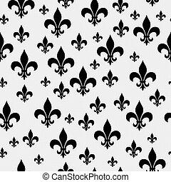 upprepa, fleur-de-lis, mönster, svart fond, vit