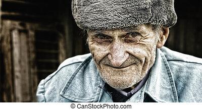 uppriktig, le, av, en, förtjusande, förståndig, äldre bemanna