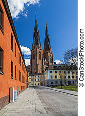 Uppsala Cathedral in the centre of city