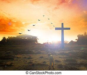 uppståndelse, av, påskdag, concept:, silhuett, kors, på, äng, soluppgång, bakgrund