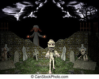 uppståndelse, halloween, night., död