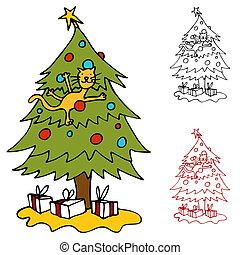 uppstigning träd, jul, katt