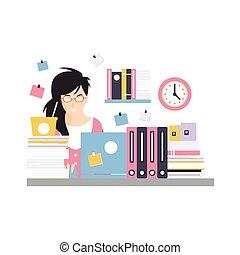 upptaget, dator, kontor, arbete, sittande, affärskvinna, tecken, ung, illustration, laptop, ögonblick, vektor, skrivbord, anställd