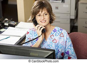 upptaget, läkar receptionist