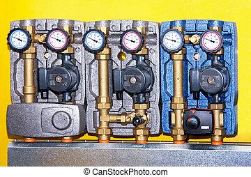 uppvärmning, pump