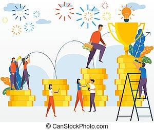 uprawa, pojęcie, success., handlowy, powodzenie, kariera, pieniądze, towarzystwo, zaręczony, profits., gotówka, połączenie, wzrost, analysis., vector., wykres, rozwój, zbudowanie, lokata, management.