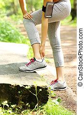 uprawiający jogging, kostka, problemy, posiadanie