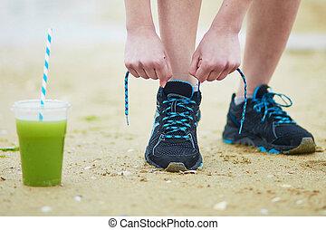 uprawiający jogging, smoothie, roślina, zielony, młody