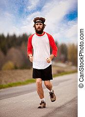 uprawiający jogging, zmęczony