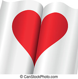 upright heart in a notebook