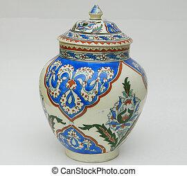 Upright Oriental Blue Jar - This is a blue oriental jar. It...