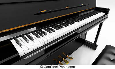 Upright piano on light background in studio