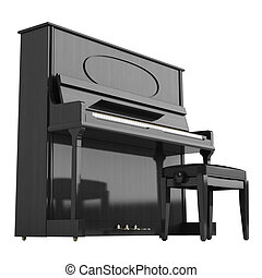Upright or vertical piano isolated on white background
