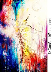 uprising phoenix bird flying up, drawing on abstract colorful background.