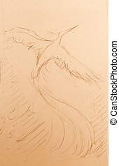 uprising phoenix bird flying up, drawing on white paper background.