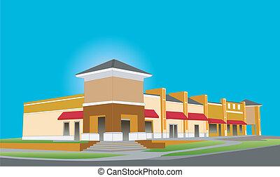 upscale, beige, spogli edificio molti negozi