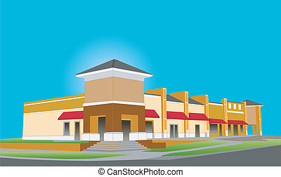 upscale beige strip mall - illustration of an upscale beige...