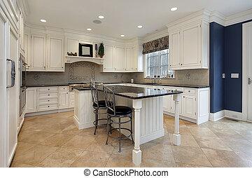 upscale, cozinha, com, granito, ilha