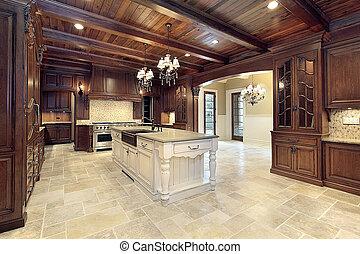 upscale, cozinha, com, madeira, tetos