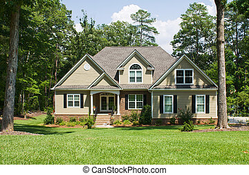 upscale home on forested lot - upscale home with brick,...