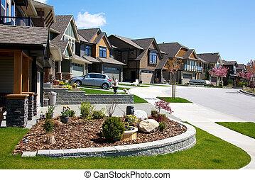 Upscale houses - Large upscale houses on a tidy street