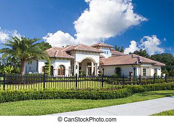 upscale, huis binnen, centraal, florida, met, blauwe hemel