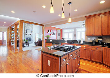 Upscale Kitchen Interior - View of a large upscale kitchen...