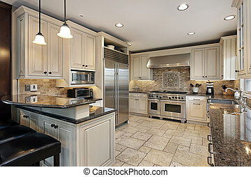 Upscale kitchen with breakfast bar - Upscale kitchen in...