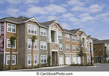 upscale apartments with garages, stonework, variable siding material and a tropical landsaping