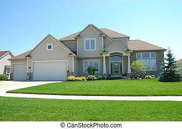 upscale, norteamericano, casa, residencial