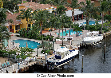 Upscale South Florida Homes - Angled overhead view of some...