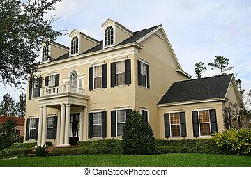 beautiful, upscale home in affluent American neighborhood