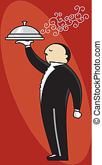 Upscale Waiter - Service waiter illustration.