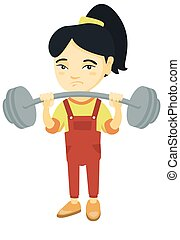 Upset asian girl lifting heavy weight barbell.
