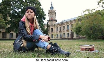 Upset beautiful student after failing final exam - Upset...