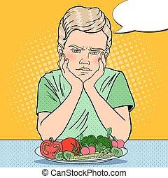 Upset Boy with Plate of Fresh Vegetables. Healthy Eating. Pop Art retro vector illustration