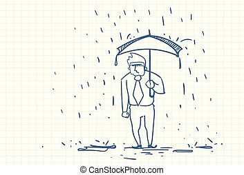 Upset Business Man Wet Under Rain With Umbrella Doodle Over Squared Paper Background