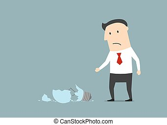 Upset businessman broke a light bulb - Upset cartoon...
