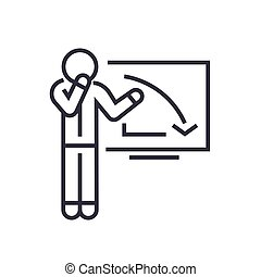 upset businessman, graph down linear icon, sign, symbol, vector on isolated background