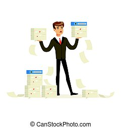 Upset businessman holding a lot of documents, manager has a lot of job vector Illustration
