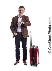 Upset Businessman or Traveler Waiting for Delayed Flight - ...