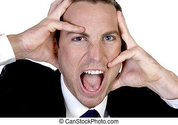 upset businessman screming - upset businessman screaming...