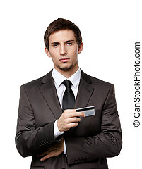 Upset businessman with credit card, isolated on white