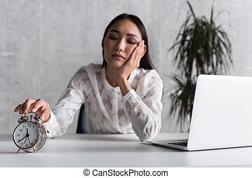 Upset businesswoman tired of work