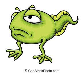 Upset Cartoon Frog Character