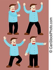 Upset Cartoon Man Vector Illustration - Body language and...