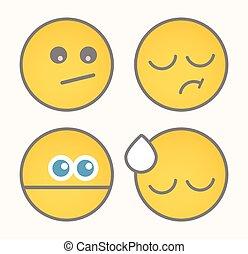 Upset Cartoon Smiley Set
