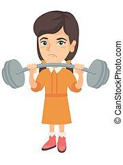 Upset caucasian girl lifting heavy weight barbell