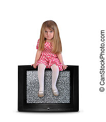 Upset Child Sitting on Blank Television - An upset young...